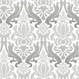 Papier peint Nouveau Damassé, gris