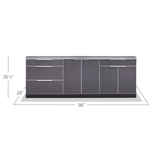 Armoires cuisine extérieure gris ardoise, Comptoir, 4 Pièces