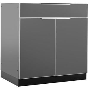 NewAge Products Aluminium Outdoor Bar Cabinet in Slate Grey 32-in