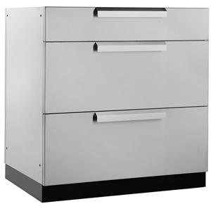 NewAge Products Outdoor Kitchen 3 Drawer Cabinet in Stainless Steel