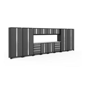 NewAge Products 77.25-in x 216-in 14 Piece Grey Bold 3.0 Series Garage Cabinets With Stainless Steel Work Surface