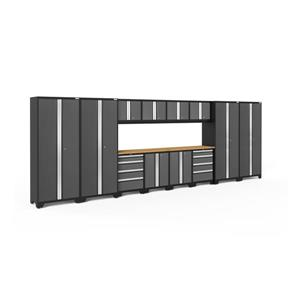 NewAge Products 77.25-in x 216-in 14 Piece Grey Bold 3.0 Series Garage Cabinets With Bamboo Work Surface