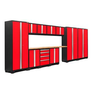 NewAge Products 77.25-in x 186-in 12 Piece Red Bold 3.0 Series Garage Cabinets With Bamboo Work Surface