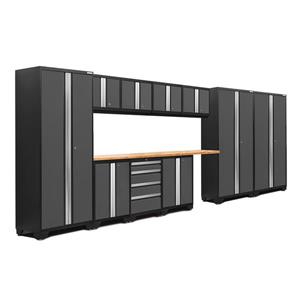 NewAge Products 77.25-in x 186-in 12 Piece Grey Bold 3.0 Series Garage Cabinets With Bamboo Work Surface