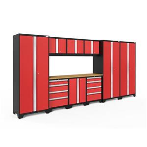 NewAge Products 77.25-in x 162-in 10 Piece Red Bold 3.0 Series Garage Cabinets With Bamboo Work Surface