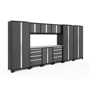 NewAge Products 77.25-in x 162-in 10 Piece Grey Bold 3.0 Series Garage Cabinets With Stainless Steel Work Surface