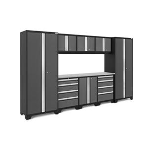 NewAge Products 77.25-in x 132-in 9 Piece Grey Bold 3.0 Series Garage Cabinets With Stainless Steel Work Surface