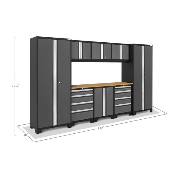 Armoires de garage Série Bold3.0 Gris, 9pièces