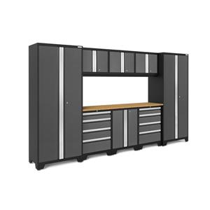 NewAge Products 77.25-in x 132-in 9 Piece Grey Bold 3.0 Series Garage Cabinets With Bamboo Work Surface