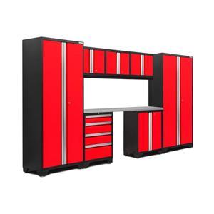 Armoires de garage Série Bold3.0 Rouge, 8pièces
