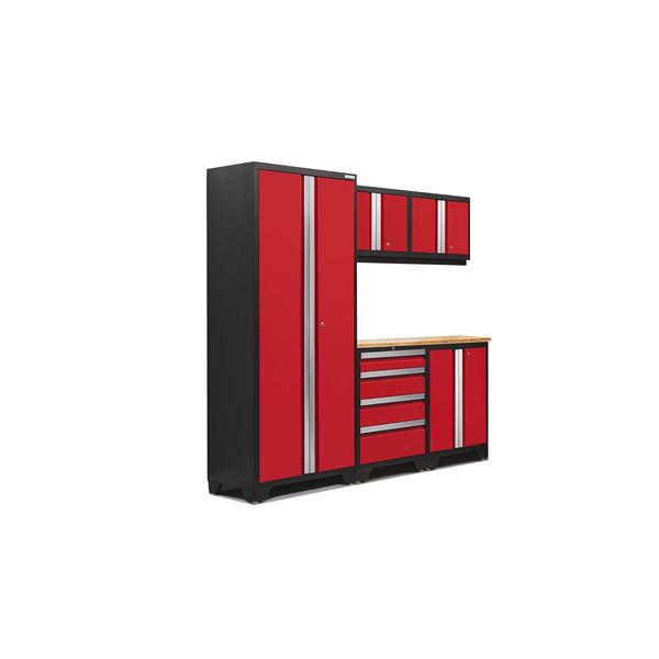 NewAge Products 77.25-in x 78-in 6 Piece Red Bold 3.0 Series Garage Cabinets With Bamboo Work Surface
