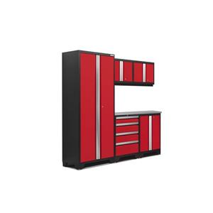 NewAge Products 77.25-in x 78-in 6 Piece Red Bold 3.0 Series Garage Cabinets With Stainless Steel Work Surface