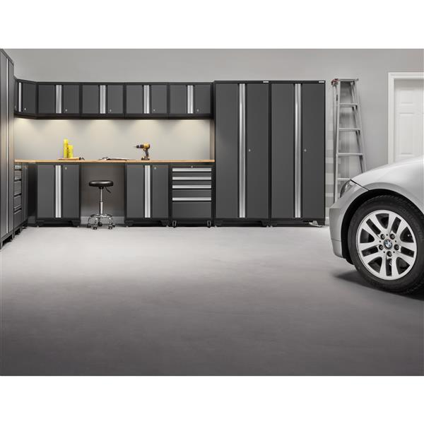 NewAge Products 77.25-in x 78-in 6 Piece Grey Bold 3.0 Series Garage Cabinets With Bamboo Work Surface
