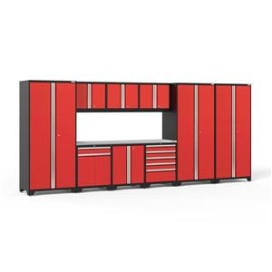 NewAge Products 85.25-in x 192-in 10 Piece Red Pro 3.0 Series Garage Cabinets With Stainless Steel Work Surface