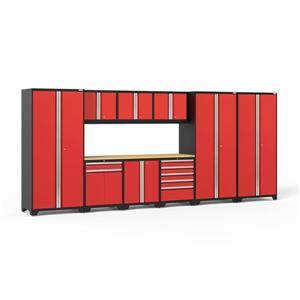 Armoires de garage Série Pro 3.0 Rouge, 10pièces