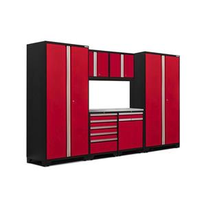 NewAge Products 85.25-in x 128-in 7 Piece Red Pro 3.0 Series Garage Cabinets With Stainless Steel Work Surface