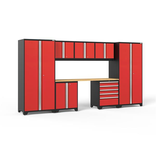 NewAge Products 85.25-in x 156-in 8 Piece Red Pro 3.0 Series Garage Cabinets With Bamboo Work Surface