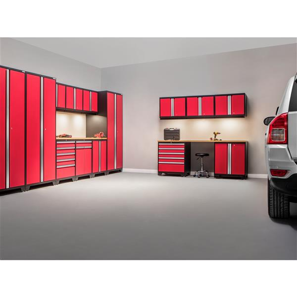 NewAge Products 85.25-in x 256-in 14 Piece Red Pro 3.0 Series Garage Cabinets With Bamboo Work Surface