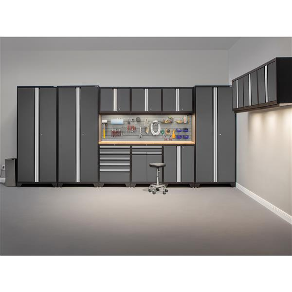 Newage Products 85 25 In X 156 In 9 Piece Grey Pro 3 0 Series Garage Cabinets With Stainless Steel Work Surface 52162 Rona