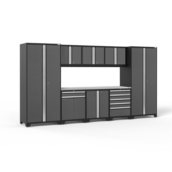 Armoires de garages Série Pro 3.0 Gris, 9pièces