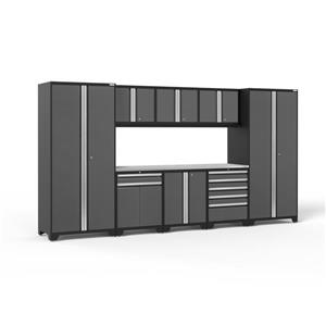 NewAge Products 85.25-in x 156-in 9 Piece Grey Pro 3.0 Series Garage Cabinets With Stainless Steel Work Surface