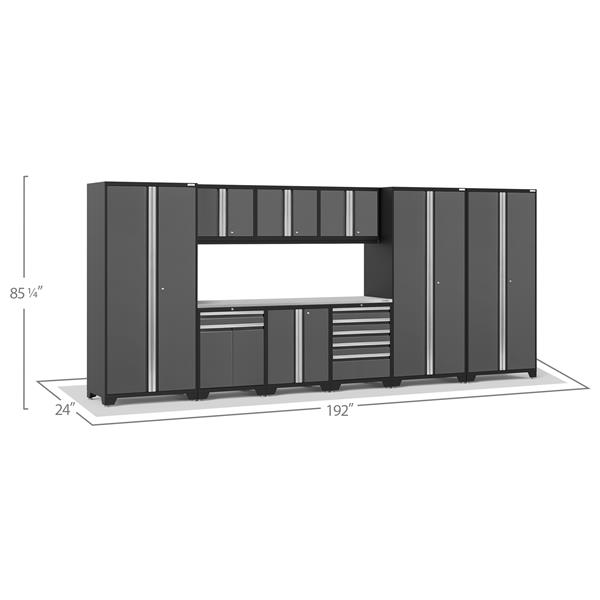 NewAge Products 85.25-in x 192-in 10 Piece Grey Pro 3.0 Series Garage Cabinets With Stainless Steel Work Surface