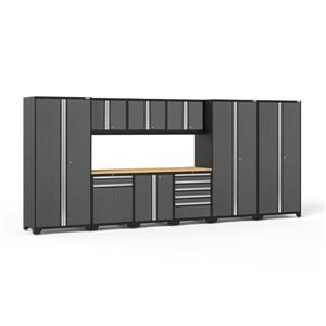 NewAge Products 85.25-in x 192-in 10 Piece Grey Pro 3.0 Series Garage Cabinets With Bamboo Work Surface