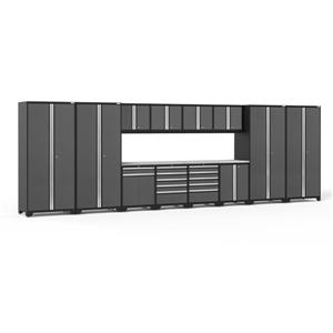 NewAge Products 85.25-in x 256-in 14 Piece Grey Pro 3.0 Series Garage Cabinets With Stainless Steel Work Surface