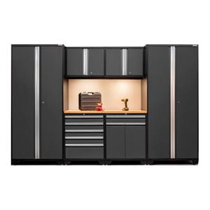 NewAge Products 85.25-in x 128-in 7 Piece Grey Pro 3.0 Series Garage Cabinets With Bamboo Work Surface