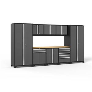 NewAge Products 85.25-in x 156-in 9 Piece Grey Pro 3.0 Series Garage Cabinets With Bamboo Work Surface