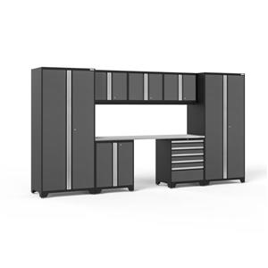 NewAge Products 85.25-in x 156-in 8 Piece Grey Pro 3.0 Series Garage Cabinets With Stainless Steel Work Surface