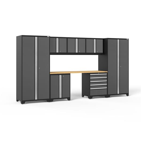 NewAge Products 85.25-in x 156-in 8 Piece Grey Pro 3.0 Series Garage Cabinets With Bamboo Work Surface