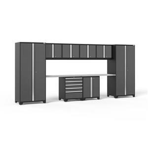 NewAge Products 85.25-in x 184-in 10 Piece Grey Pro 3.0 Series Garage Cabinets With Stainless Steel Work Surface