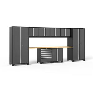 NewAge Products 85.25-in x 184-in 10 Piece Grey Pro 3.0 Series Garage Cabinets With Bamboo Work Surface