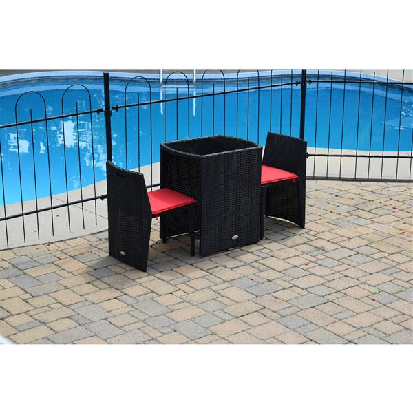 Corriveau Baltic 3 pc Red and Black Outdoor Bistro