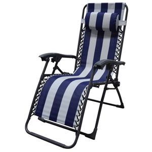 Corriveau 43.5-in x 25.5-in x 33-in Blue & White Multi-Position Zero Gravity Chaise