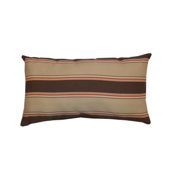 Bozanto 16.5-in Brown Striped Rectangular Outdoor Toss Cushion