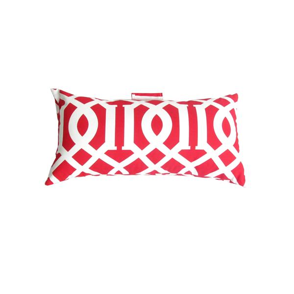 Bozanto 19-in x 10.5-in Red Geometric Outdoor Conversation Chair Toss Cushion