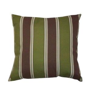 Bozanto 16-in Green with Brown Stripe Outdoor Conversation Chair Toss Cushion