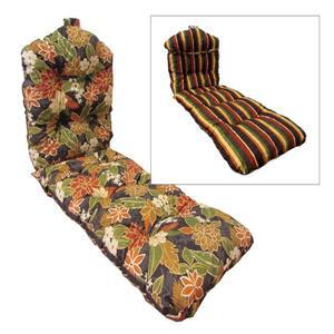 Coussin réversible de chaise longue, Fleuri Noir et Rayé