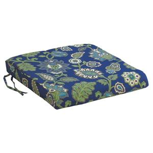 Bozanto 20-in Dark Blue Floral Outdoor Seat Cushion