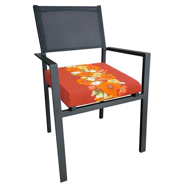 """Coussin d'assise pour le patio, Fleuri rouge, 20"""""""