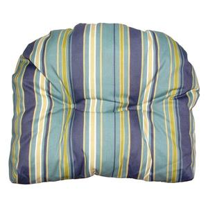 Bozanto 20-in Blue Striped Reversible Outdoor Seat Cushion