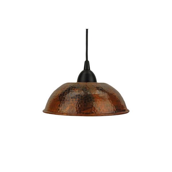 """Luminaire suspendu en forme de dôme, 8,5"""", cuivre"""