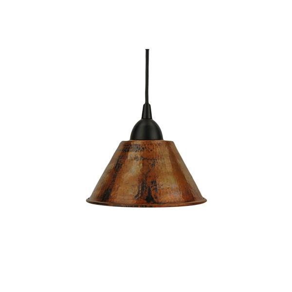 """Luminaire suspendu en forme de cône, 7"""", cuivre"""