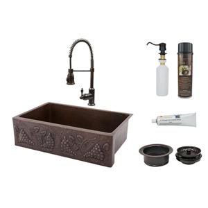 Premier Copper Vineyard 33-in Oil Rubbed Bronze Sink with Faucet and Drain