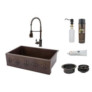 Premier Copper Products Fleur De Lis Sink With Faucet and Drain 33-in