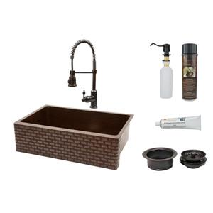 Premier Copper 33-in Oil Rubbed Bronze Tuscan Sink with Faucet and Drain