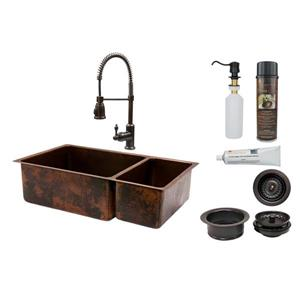 Premier Copper Products 33-in Double Basin Sink With Spring Pull Down Faucet Package