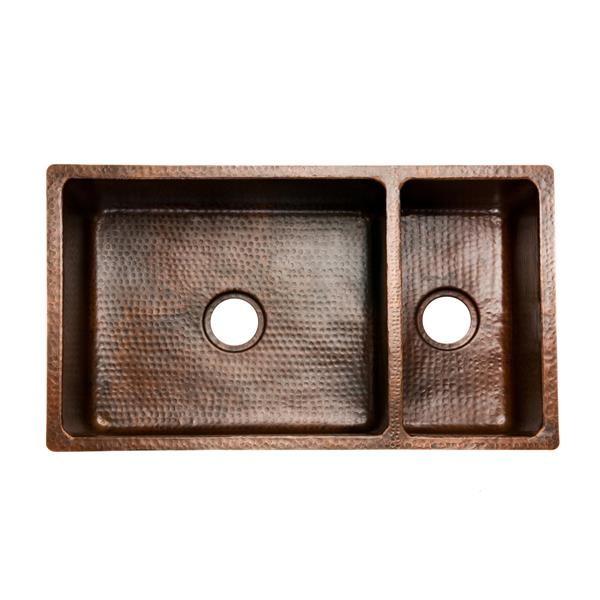 Premier Copper Products 33-in Copper Double Basin Kitchen Sink with Drain